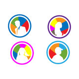 Icons for member. Icons for key members of a male adult, boys, women, girls. can be used for logos, symbols, icons, etc. colors can be changed Royalty Free Stock Photos