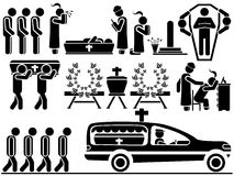 Icons of men in black theme funeral Stock Image