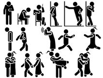 Icons of men in black theme for men and women in various situations Royalty Free Stock Photography