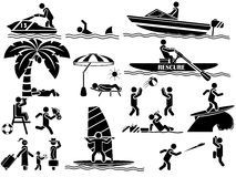 Icons of men in black theme summer Royalty Free Stock Photos