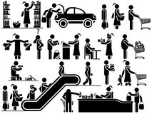 Icons men blacks in various life situations. Icons men blacks in various situations of life in the supermarket vector illustration