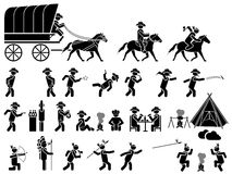 Icons men blacks western theme. Cowboy Indian horses etc Royalty Free Stock Images