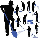 Set of black silhouettes of men working in garden. Royalty Free Stock Photo