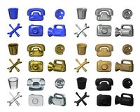 ICONS. Of the metal material, gold, plastic, rubber, wood and glass Royalty Free Stock Photography