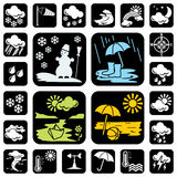 Icons_meteo. Set of vector icons on the weather and seasons theme. 24 symbol for web and print Stock Image