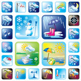 Icons_meteo (color). Set of vector icons on the weather and seasons theme. 24 symbol for web and print Royalty Free Stock Photo