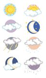 Icons on the meteorological conditions Royalty Free Stock Photos
