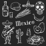 Icons of mexican food and culture Stock Photo