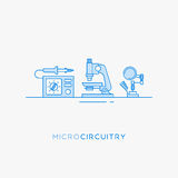Icons for micro-circuitry. Radio engineering flat line icons set. Soldering station, microscope and stand for soldering iron Stock Photography