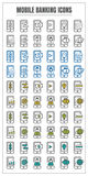 Icons mobile banking vector color black blue Yellow green on whi Royalty Free Stock Photos