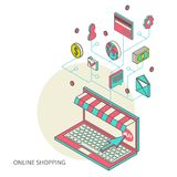 Icons for mobile marketing and online shopping. Flat 3d isometric art modern design concept vector icons. Icons for mobile marketing and online shopping Stock Images