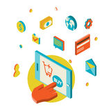 Icons for mobile marketing and online shopping Stock Image