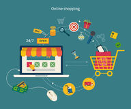 Icons for mobile marketing and online shopping Royalty Free Stock Photos