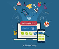 Icons for mobile marketing and online shopping Stock Photos