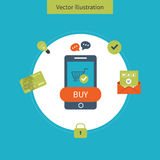Icons for mobile marketing and security online Stock Photos