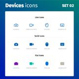 Icons of modern devices and electronics royalty free illustration