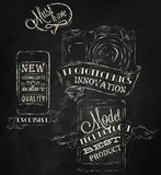 Icons modern technology mobile . Chalk. Icons on modern technology mobile tablet device camera in vintage style stylized under the chalk drawings Royalty Free Stock Photo