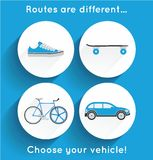 Icons for modern urban transports and vehicles Royalty Free Stock Images
