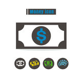Icons money colorful design vector line black on white backgroun Royalty Free Stock Photography