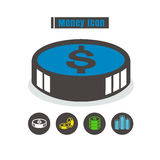 Icons money colorful design vector line black on white backgroun Stock Image