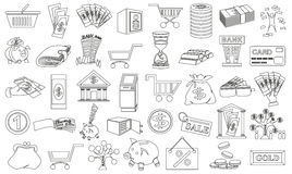 Icons money contour Royalty Free Stock Images