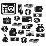 Icons money. Icons of different currency and financial objects. Set on a white background Stock Photography