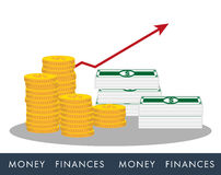 Icons money with graph. Icons money(coins and banknotes)  with graph Royalty Free Stock Images