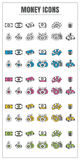 Icons money thin line color black blue pink Yellow green vector Stock Photography