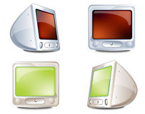 Icons monitor. Monitor, personal computer with crt monitor Stock Photo