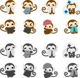 Icons of monkeys Royalty Free Stock Image