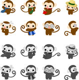 Icons of monkeys Royalty Free Stock Photography