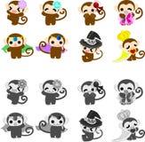 Icons of monkeys Stock Photography