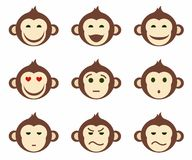 Icons, monkeys, emotions, different, small, color, flat. Royalty Free Stock Photo