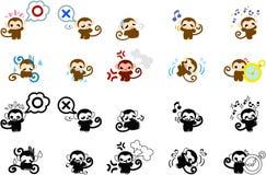 Icons of monkeys part 1 Royalty Free Stock Photo