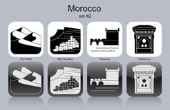 Icons of Morocco. Landmarks of Morocco. Set of monochrome icons. Editable vector illustration Stock Photos