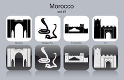 Icons of Morocco. Landmarks of Morocco. Set of monochrome icons. Editable vector illustration Stock Images