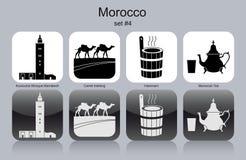 Icons of Morocco. Landmarks of Morocco. Set of monochrome icons. Editable vector illustration Stock Photography