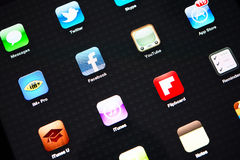 Icons of most popular applications on Apple iPad Royalty Free Stock Images