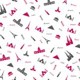 Icons of most popular world monuments. Colored seamless pattern royalty free illustration