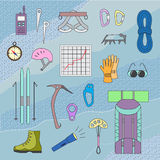 Icons of mountaineering equipment. Set colorful icons of mountaineering equipments. Collection vector icons for climbing, trekking, hiking, tourism, expedition Stock Photos