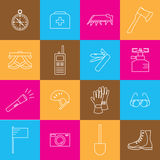 Icons of mountaineering equipment Royalty Free Stock Images