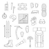 Icons of mountaineering equipment. Set line icons of mountaineering equipments. Collection vector icons for climbing, trekking, hiking, tourism, expedition Royalty Free Stock Image
