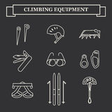 Icons of mountaineering equipment. Set line icons of mountaineering equipments. Collection vector icons for climbing, trekking, hiking, tourism, expedition Royalty Free Stock Images