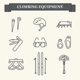 Icons of mountaineering equipment. Set line icons of mountaineering equipments. Collection vector icons for climbing, trekking, hiking, tourism, expedition Stock Photography