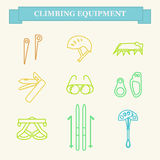Icons of mountaineering equipment. Set line icons of mountaineering equipments. Collection vector icons for climbing, trekking, hiking, tourism, expedition Royalty Free Stock Photo