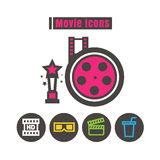 Icons movie colour vector on white background Royalty Free Stock Image