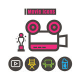 Icons movie colour vector on white background Royalty Free Stock Photos