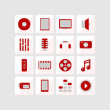 Icons of multimedia. Red and gray. Vector format Royalty Free Stock Photo