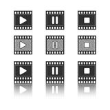 Icons of multimedia. Set of black icons of multimedia vector illustration