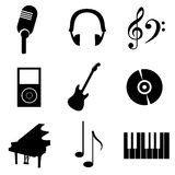 Icons music black Stock Images